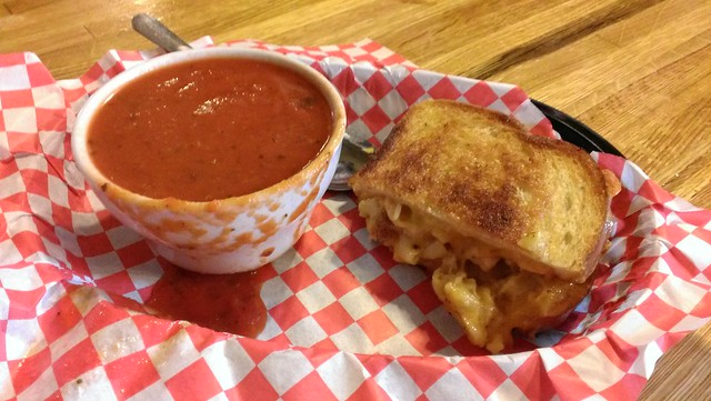 Chunky tomato bisque soup and Grilled Mac and Cheese sandwich