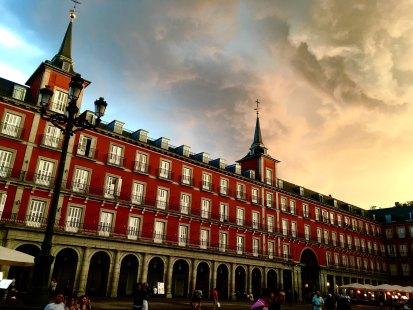 The Plaza Mayor, Madrid with a stormy sky.