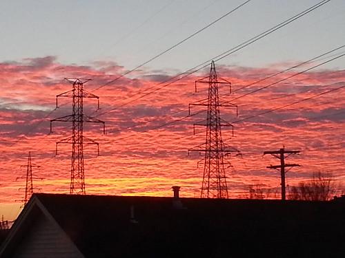 Sunrise and pylons