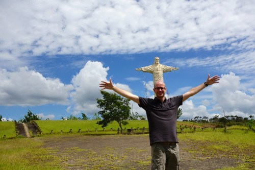 Me and the statue of Christ in Patrocinio, Brasil