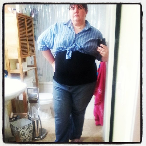 #fatshionfriday overshirt: stolen from hubs. Undershirt: Costco camisole. Pants: thrifted. House shoes: Liquidation World.