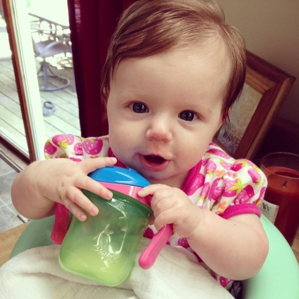 We tried out a sippy today. #growingtoofast