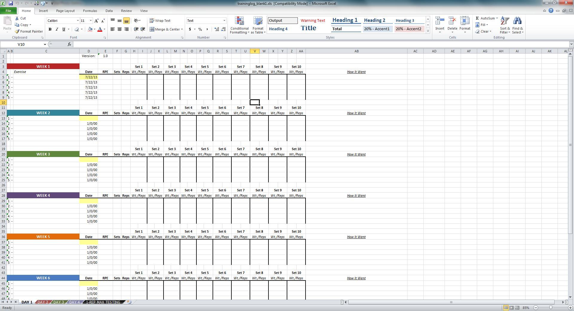 Niel K Patel Download Training Log Spreadsheet