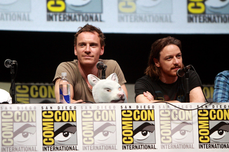 Michael Fassbender (left) and James McAvoy (right) in Comic Con San Diego 2013 for X-Men Days of Future Past.