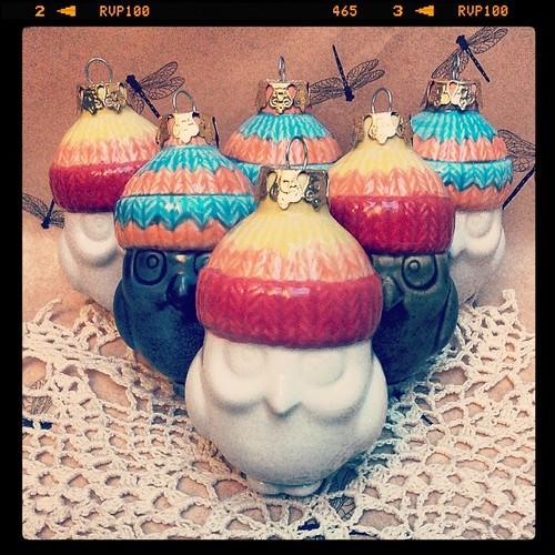 They're heeeeeere #ceramics #owls #jaynehat #gators #christmasornaments