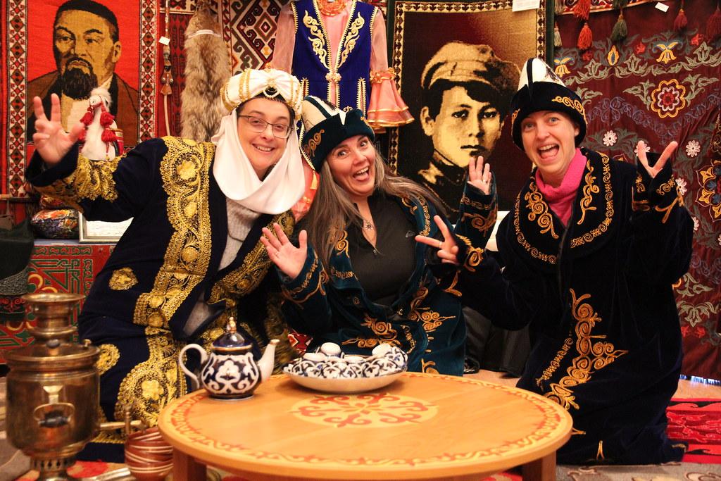 Traditional Kazakh tea ceremony at the Baikonur City Museum