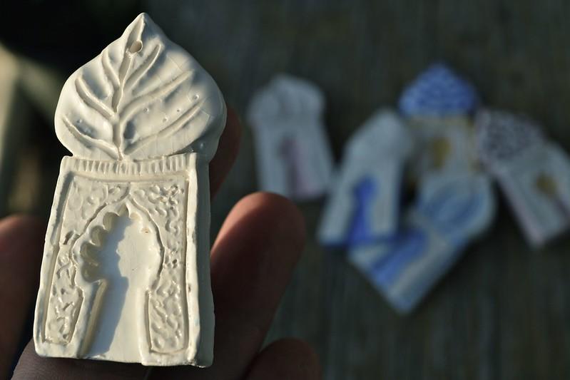 bone white stoneware minaret