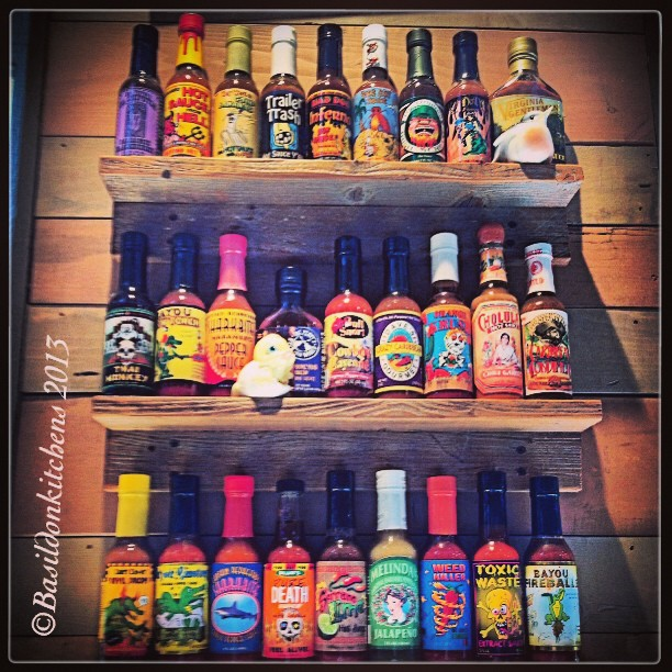 Sep 20 - hot sauce {some of the sauces on display @ Bubba Gump Shrimp Co.} #photoaday #hotsauce #bubbagump #florida