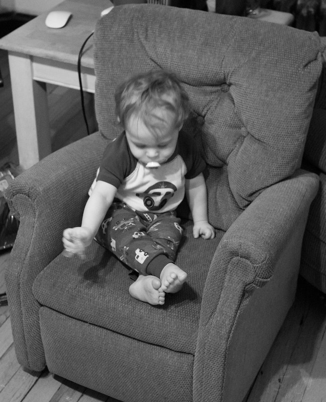 Micah in his chair