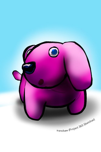 """Fuchsia Pink Dog"" (#210: Project 365 Sketches)"