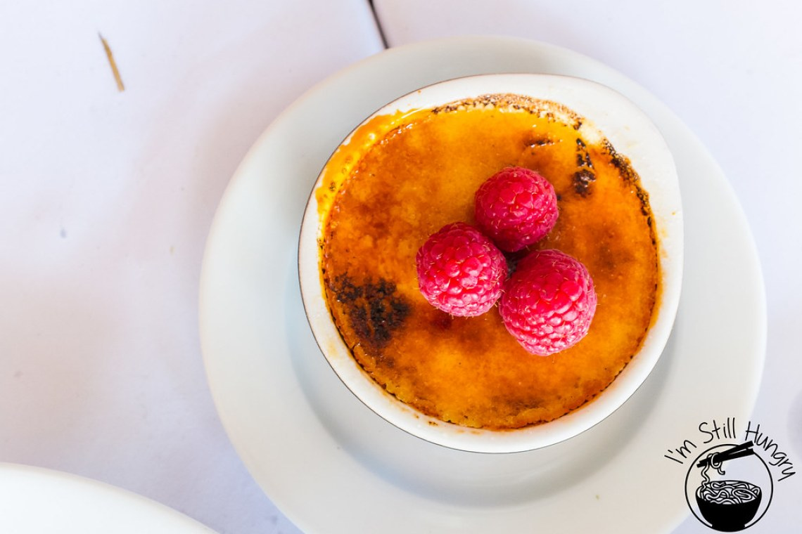 Creme brulee with mastic and vanilla flanagan's dining room