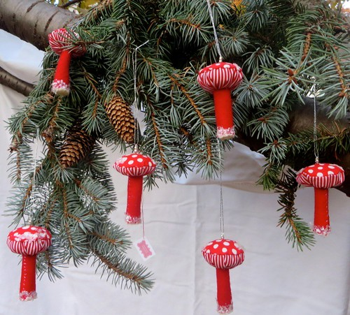 Snowy Mushroom Ornaments