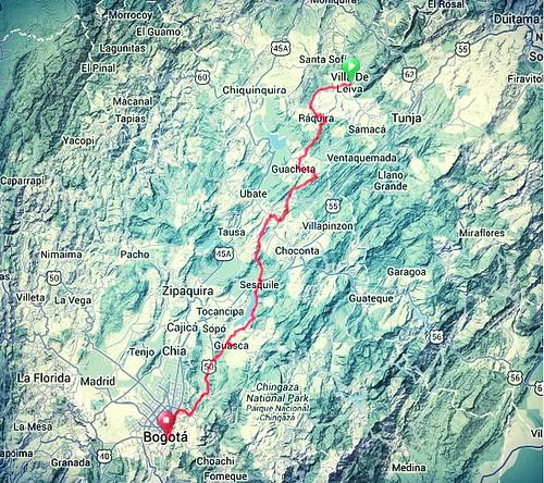 Map - Villa de Leyva to Bogotab