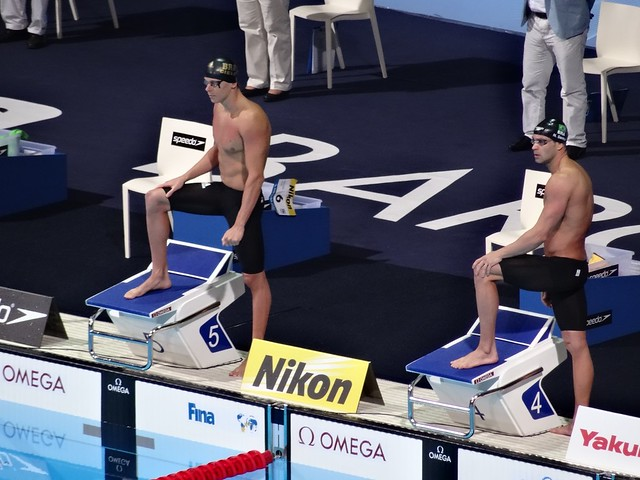 Cielo and Santos ready for the BCN2013 men's 50 fly final