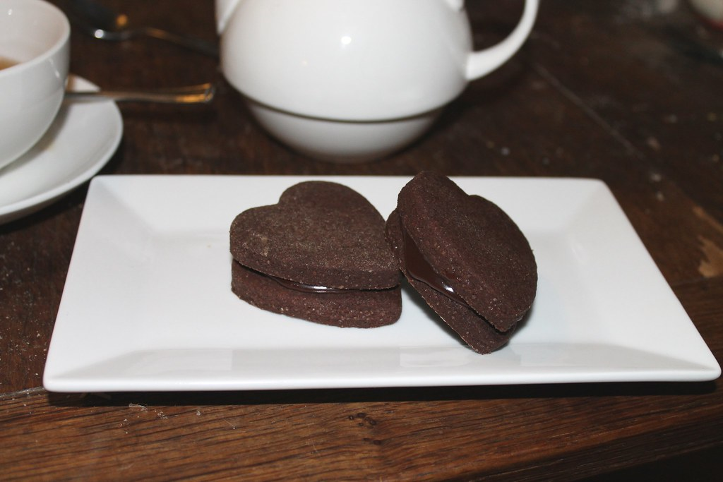 bitter chocolate biscuits with genache filling