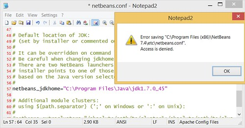 Error saving netbeans.conf - Access is denied