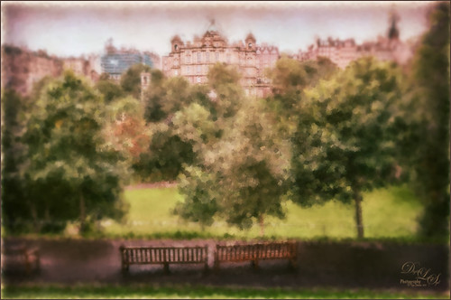 Image processed with Corel Painter of some benches in a park in Edinburgh, Scotland