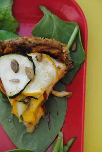 picnic courgette tart spelt vegetarian allotmen