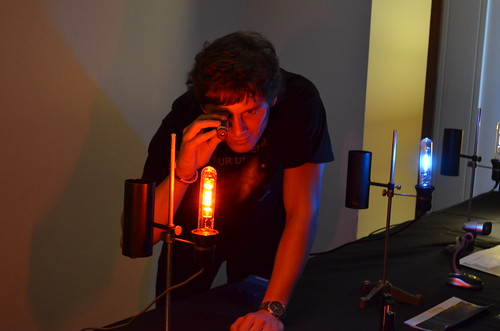 Gleb demonstrates the use of a spectroscope