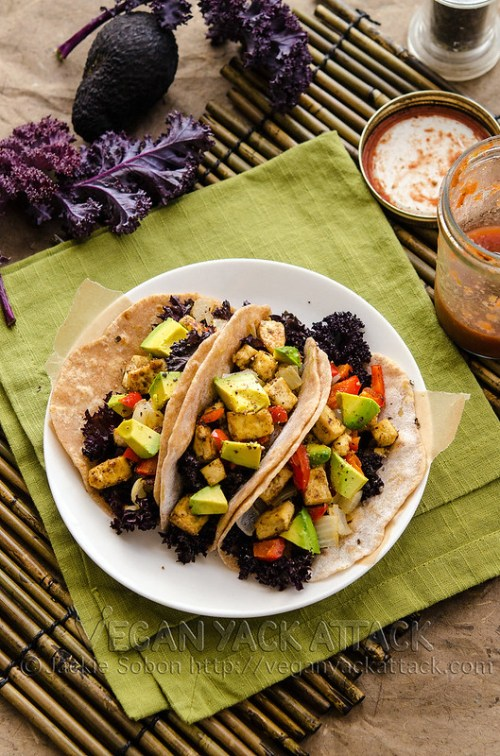 Simple and healthy roasted tofu kale tacos, with homemade tortillas! High in protein AND flavor, plus easy-to-make.