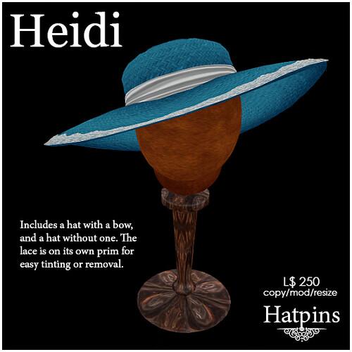 Hatpins - Heidi Straw Hat - Cornflower