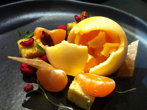 mandarin sorbet balloon, cracked