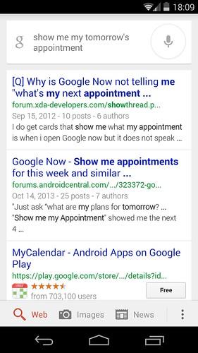 สั่ง show me my tomorrow's appointment กลับกลายเป็นค้น Google แทน