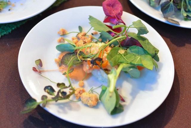 Akasha masala shrimp salad, mango chutney dressing