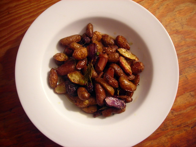 Roasted fingerling potatoes, with nuoc mam sauce and scallion
