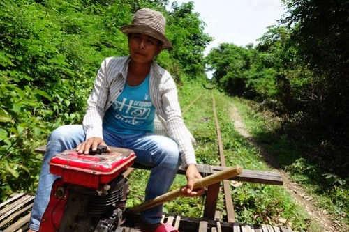 Our bamboo train driver (Cambodia)