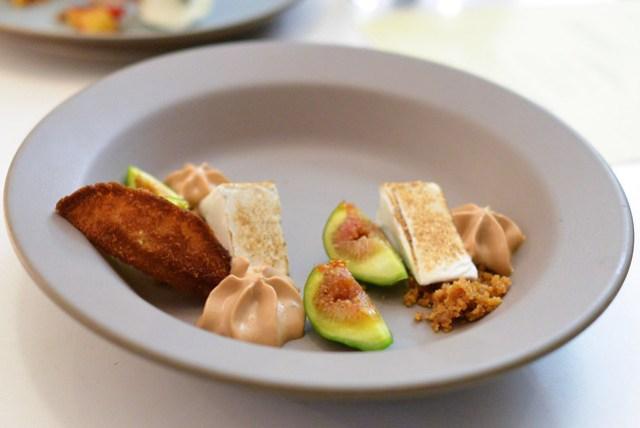 warm fig, pu-erh, brown butter madeleine, pine brittle