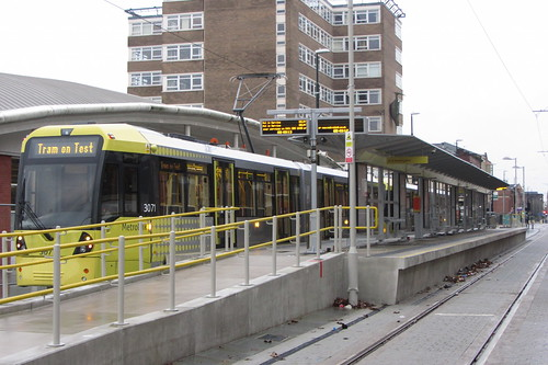 Seen on test, a Flexity Swift M5000 tram at Oldham Central station.