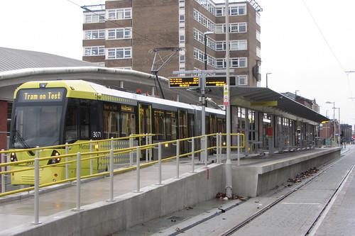 3071 on test outside Central station, Oldham.