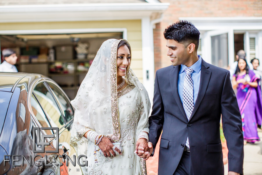 Ismaili bride and groom go to Jamatkhana for Nikkah