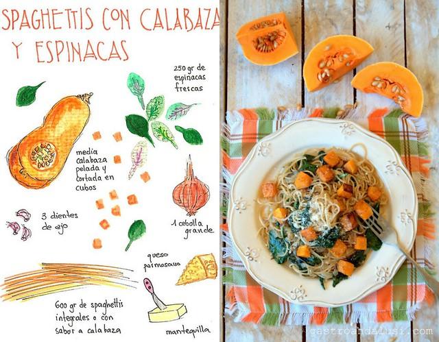 spaguettis con calabaza y espinacas