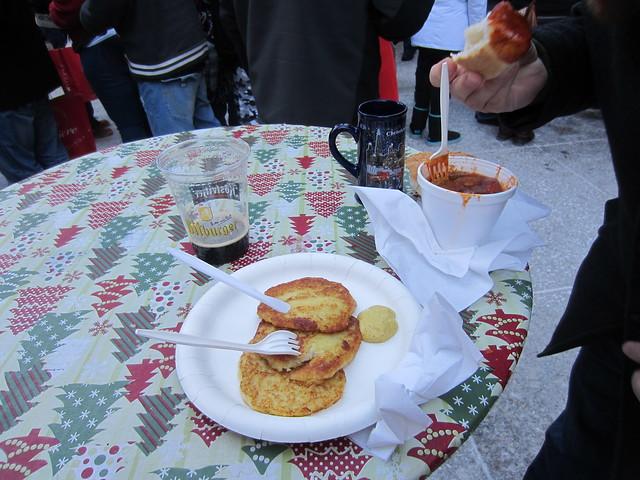 Christkindlmarket potato pancakes and currywurst