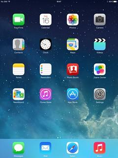 Home screen ของ iPad Mini with Retina Display