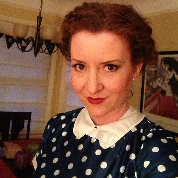 In the warm, dry house while the fam is out trick-or-treating - Lucy, you got some 'splaining to do! #halloween #selfie #ilovelucy #lucilleball #redhead #costume