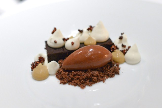chocolate marquise chocolate sorbet, candied nibs, creme chantilly