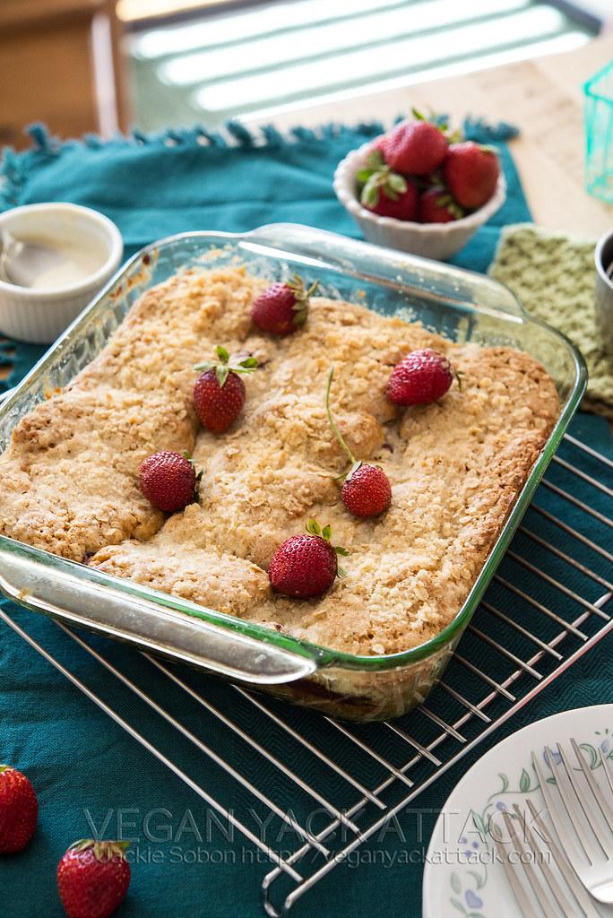 Strawberries & Cream Coffee Cake by Vegan Yack Attack