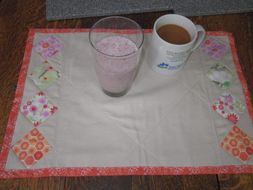 Breakfast - yogurt smoothie and coffee