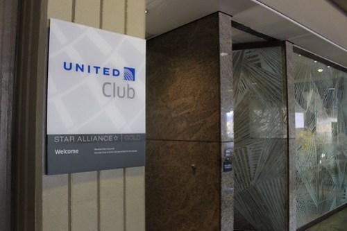 ユナイテッド航空のラウンジ入り口