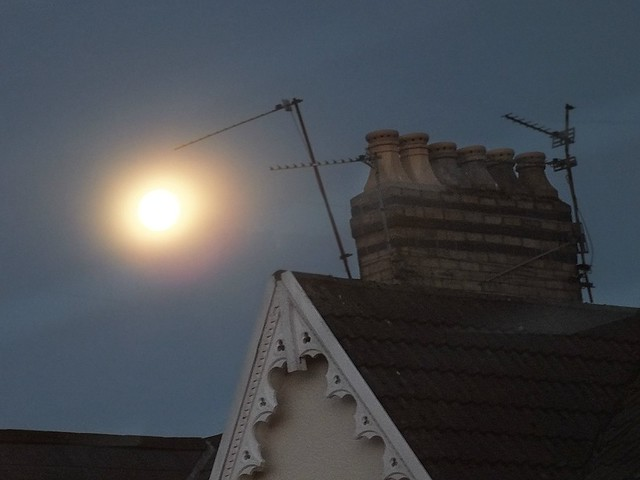 'Supermoon' over Pontcanna, Cardiff.