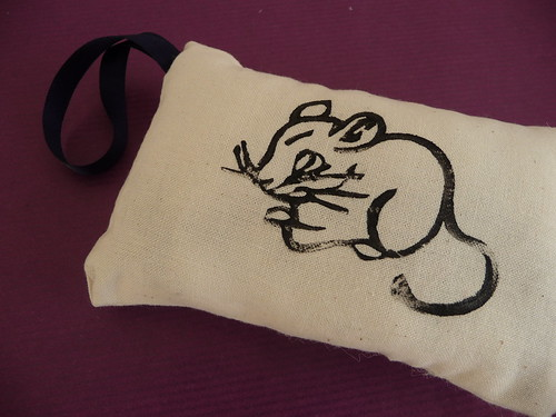 Lino Printed Mouse Lavender Bag