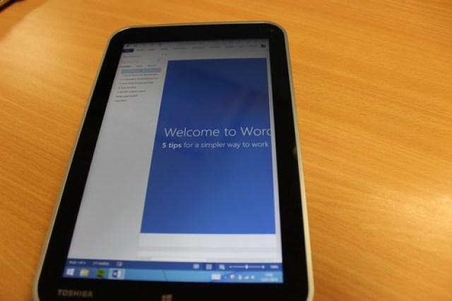 Microsoft Word on a Windows tablet