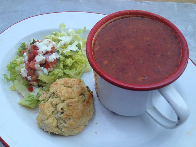 Red chile chicken posole - Chile Pies
