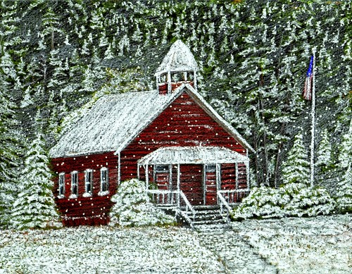 Red Schoolhouse in Snow