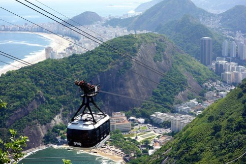 Cable car of Sugarloaf mountain in Rio