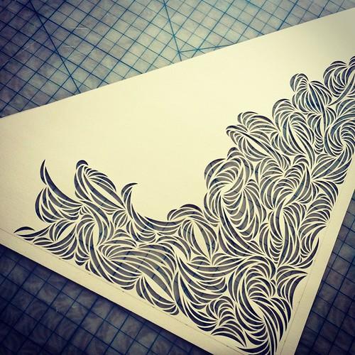 Work in progress paper cut sculpture