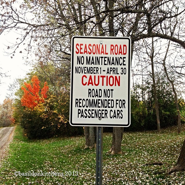 Oct 15 - big sign {sign may not be very big, but the message is important; this is at the entrance to my street - both ends}. #photoaday #rural #countryroads #princeedwardcounty #fall #autumn #leaves #colorful